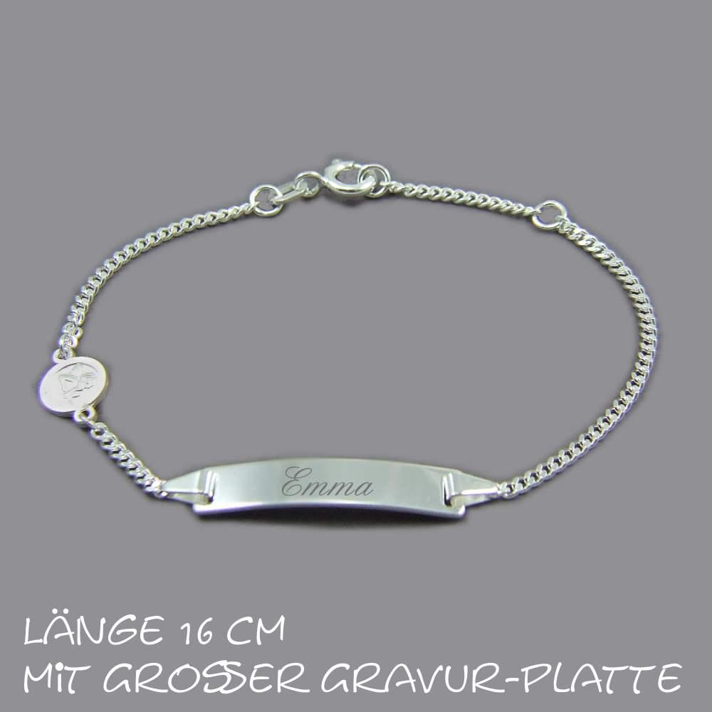 Taufarmband Sterlingsilber 14 cm inkl Gravur Armband mit Gravurplatte